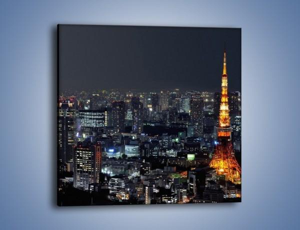 Obraz na płótnie – Rozświetlona Wieża Eiffla nocą – jednoczęściowy kwadratowy AM174