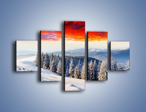 Obraz na płótnie – Cały urok gór zimą – pięcioczęściowy KN805W1