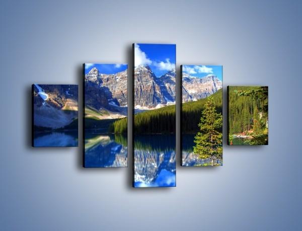 Obraz na płótnie – Góry i ich wodne odbicie – pięcioczęściowy KN839W1