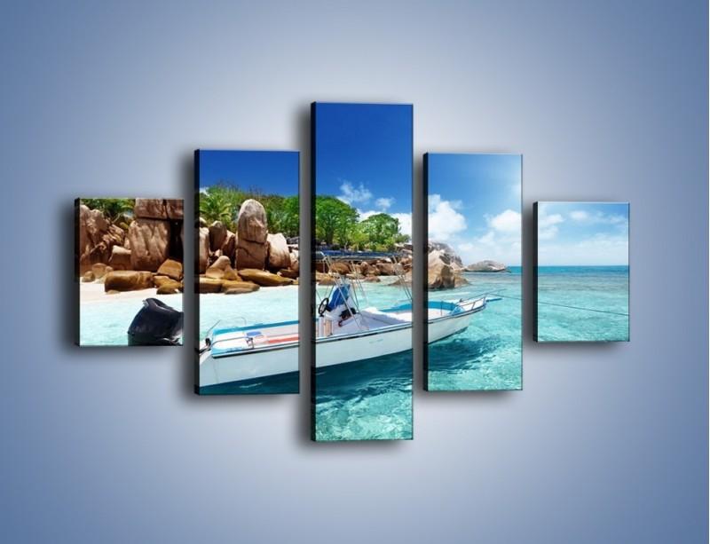Obraz na płótnie – Błękit w wodzie i niebie – pięcioczęściowy KN852W1