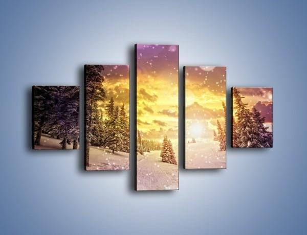 Obraz na płótnie – Śnieżna kraina – pięcioczęściowy KN868W1