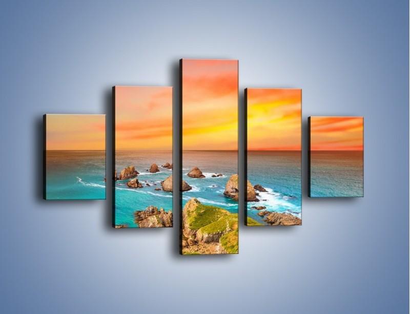 Obraz na płótnie – Kolory rozpalonego nieba nad wodą – pięcioczęściowy KN879W1