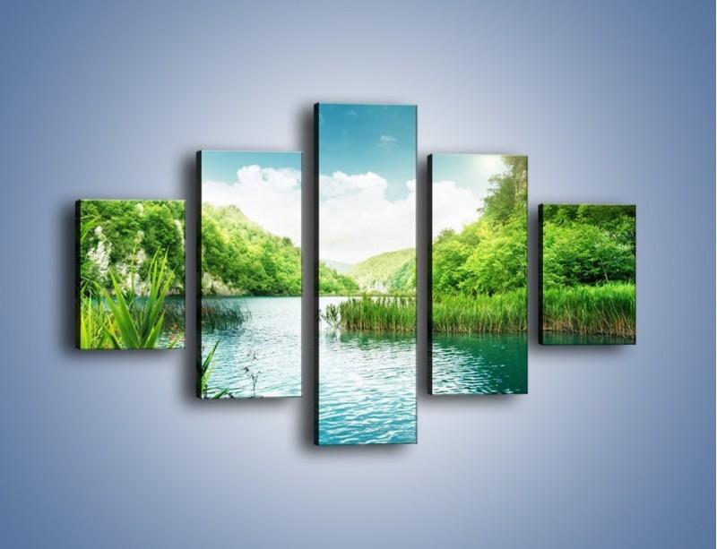 Obraz na płótnie – Wodnym śladem wśród zieleni – pięcioczęściowy KN884W1