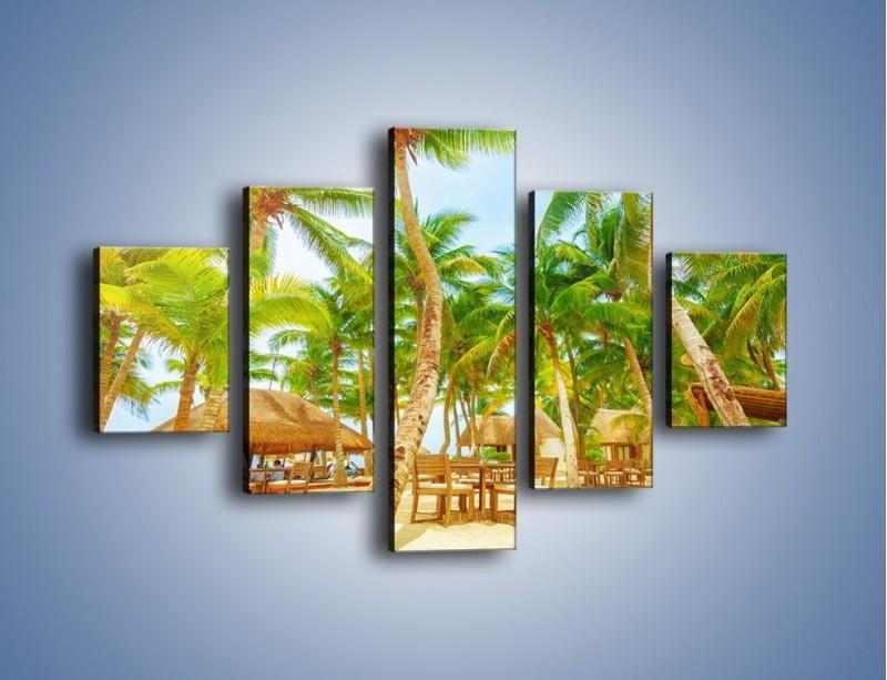 Obraz na płótnie – Słoneczna sjesta pod palmami – pięcioczęściowy KN886W1