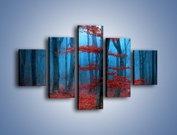Obraz na płótnie – Czerwień w lesie – pięcioczęściowy KN897W1