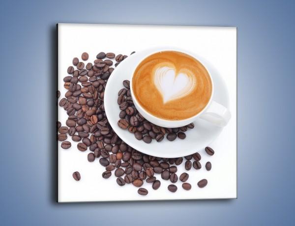 Obraz na płótnie – Miłość i kawa na białym tle – jednoczęściowy kwadratowy JN633