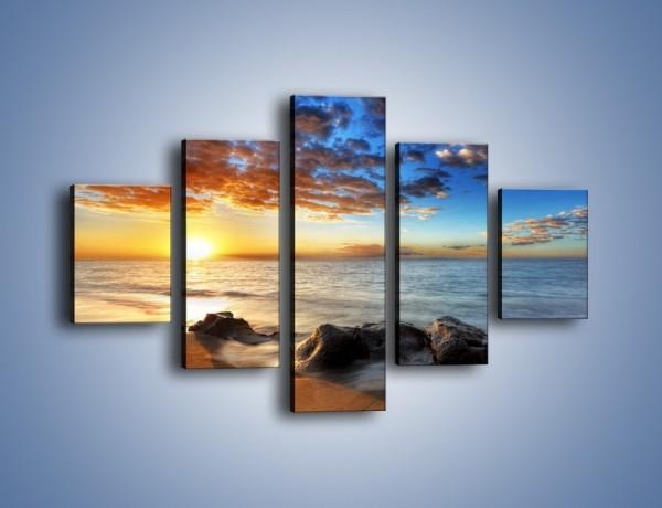 Obraz na płótnie – Kąpiel kamieni w morzu – pięcioczęściowy KN904W1