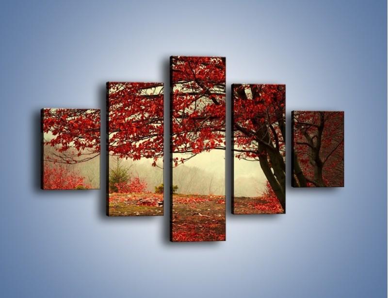 Obraz na płótnie – Spadające liście z drzew – pięcioczęściowy KN910W1