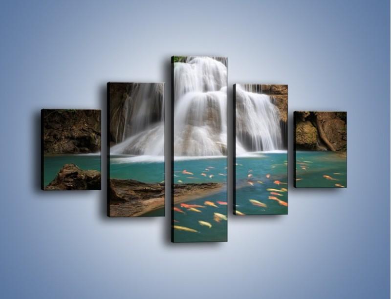 Obraz na płótnie – Wodospad i kolorowe rybki – pięcioczęściowy KN994W1