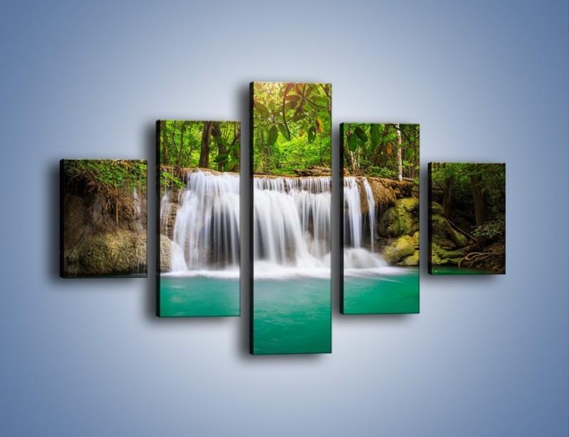 Obraz na płótnie – Kąpiel w środku lasu – pięcioczęściowy KN995W1