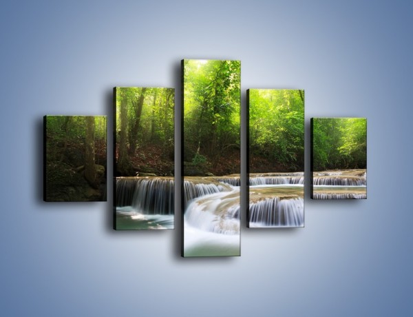 Obraz na płótnie – Niski niegroźny wodospad – pięcioczęściowy KN996W1