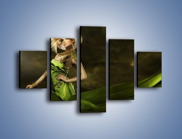 Obraz na płótnie – Kobieta ubrana w zieleń – pięcioczęściowy L098W1
