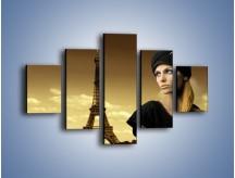 Obraz na płótnie – Czarna dama w paryżu – pięcioczęściowy L114W1