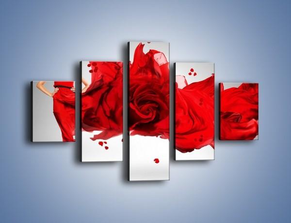 Obraz na płótnie – Czerwona róża i kobieta – pięcioczęściowy L144W1