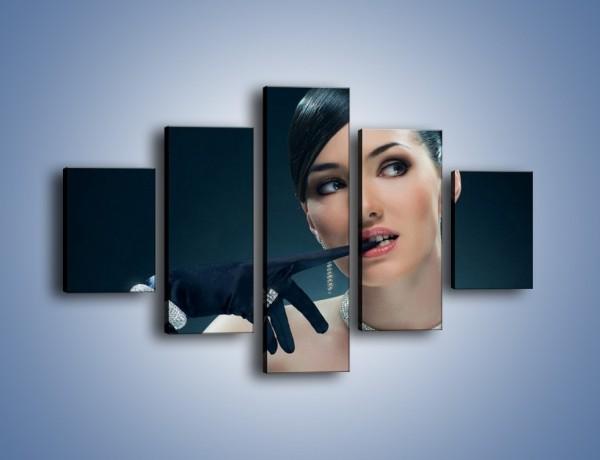 Obraz na płótnie – Czarna dama w diamentach – pięcioczęściowy L171W1