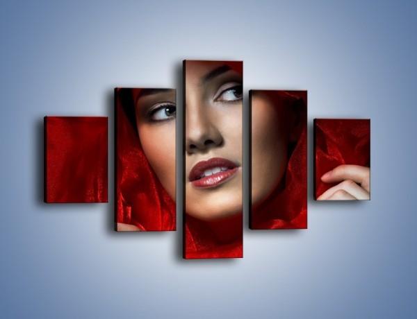 Obraz na płótnie – Kobieta w czerwieni – pięcioczęściowy L187W1