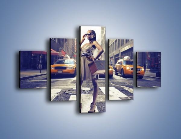 Obraz na płótnie – Pani i nowojorski styl – pięcioczęściowy L246W1