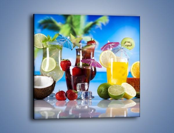 Obraz na płótnie – Drinki z egzotycznych owoców – jednoczęściowy kwadratowy JN640