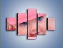 Obraz na płótnie – Bobas w różowej czapeczce – pięcioczęściowy L256W1