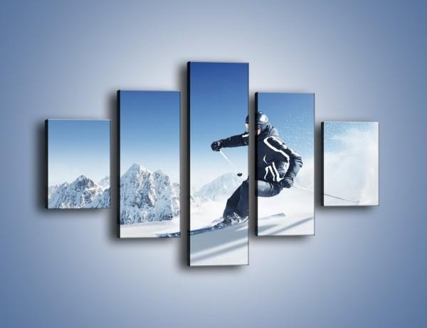 Obraz na płótnie – Zima góry i narty – pięcioczęściowy L286W1