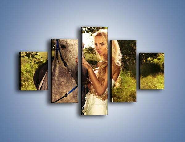 Obraz na płótnie – Koń z kobietą w bieli – pięcioczęściowy L331W1