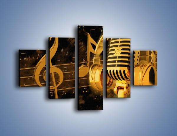 Obraz na płótnie – Złota gama muzyczna – pięcioczęściowy O004W1