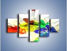 Obraz na płótnie – Kolory pędzlem malowane – pięcioczęściowy O046W1