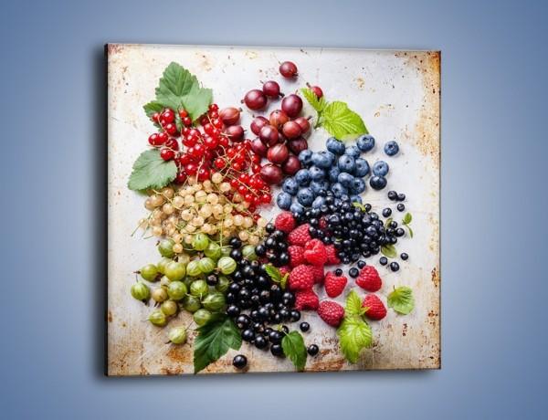 Obraz na płótnie – Owocowa mozaika na stole – jednoczęściowy kwadratowy JN644