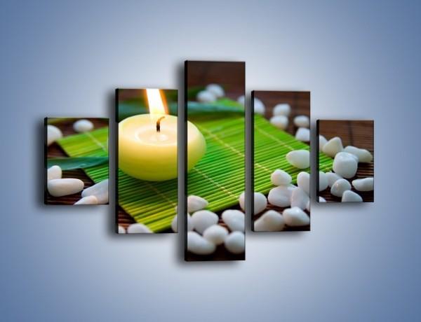 Obraz na płótnie – Świeczka na bambusowej podkładce – pięcioczęściowy O265W1