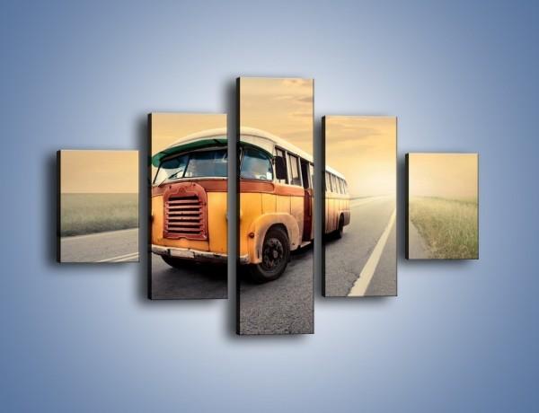 Obraz na płótnie – Stary żółty busik na drodze – pięcioczęściowy TM037W1