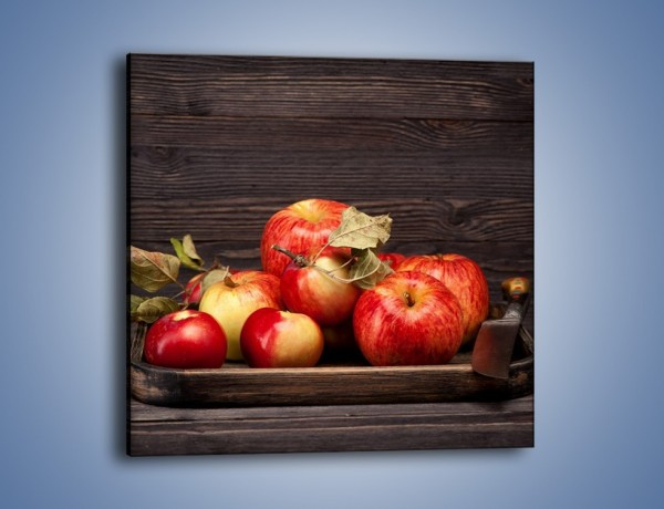 Obraz na płótnie – Dojrzałe jabłka na stole – jednoczęściowy kwadratowy JN653