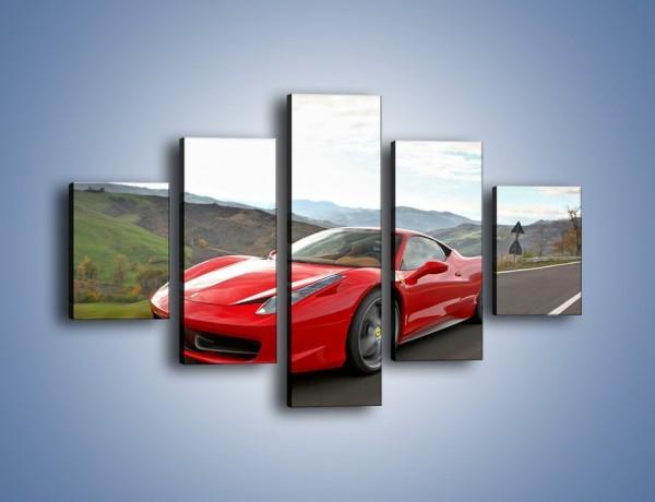 Obraz na płótnie – Czerwone Ferrari 458 Italia – pięcioczęściowy TM194W1