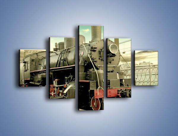 Obraz na płótnie – Stara lokomotywa na stacji – pięcioczęściowy TM238W1