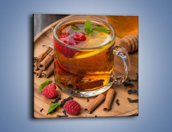 Obraz na płótnie – Herbata ze słodką maliną – jednoczęściowy kwadratowy JN658