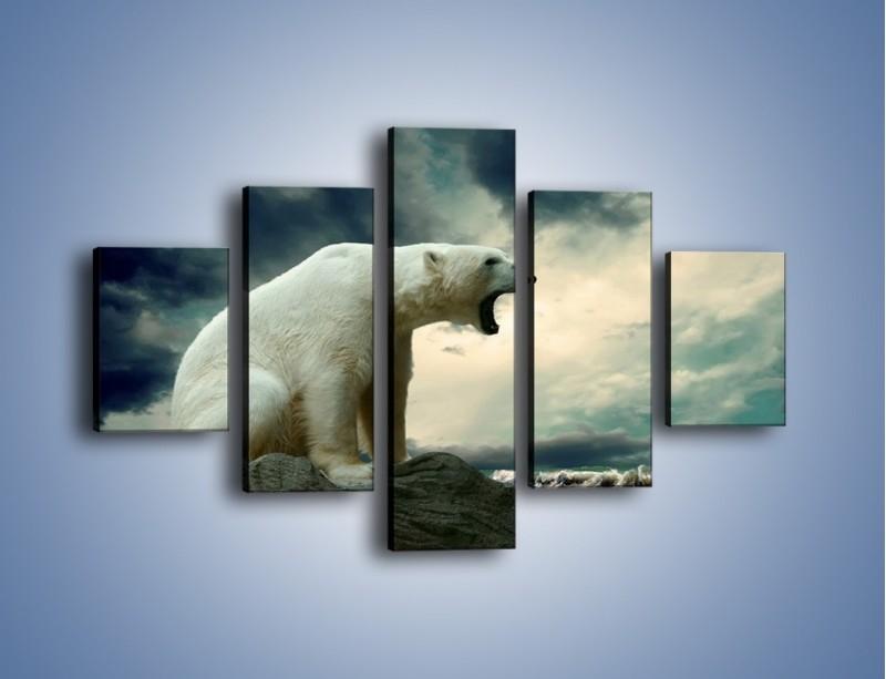 Obraz na płótnie – Donośny krzyk polarnego niedźwiedzia – pięcioczęściowy Z114W1