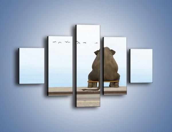 Obraz na płótnie – Przemyślenia słonia w samotności – pięcioczęściowy Z120W1