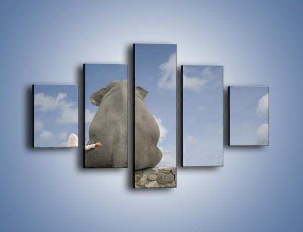 Obraz na płótnie – Przyjaźń ze słoniem na zawsze – pięcioczęściowy Z121W1