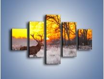 Obraz na płótnie – Jeleń o zachodzie słońca – pięcioczęściowy Z164W1