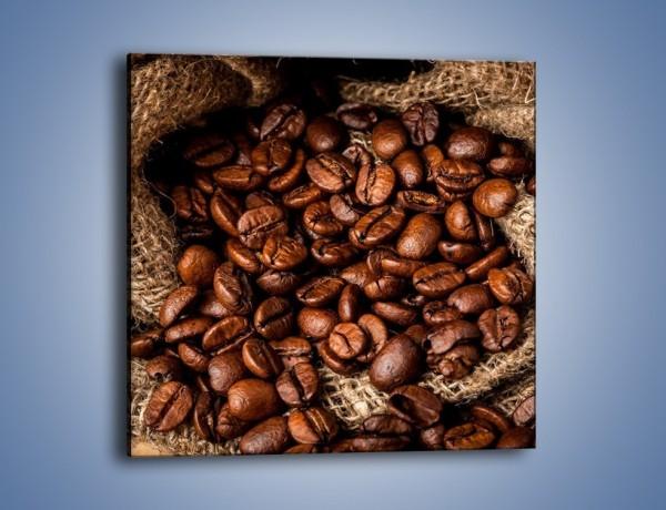 Obraz na płótnie – Ziarna kawy schowane w ciemnym worku – jednoczęściowy kwadratowy JN660