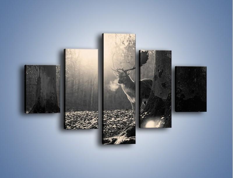 Obraz na płótnie – Jeleń w sepii – pięcioczęściowy Z250W1