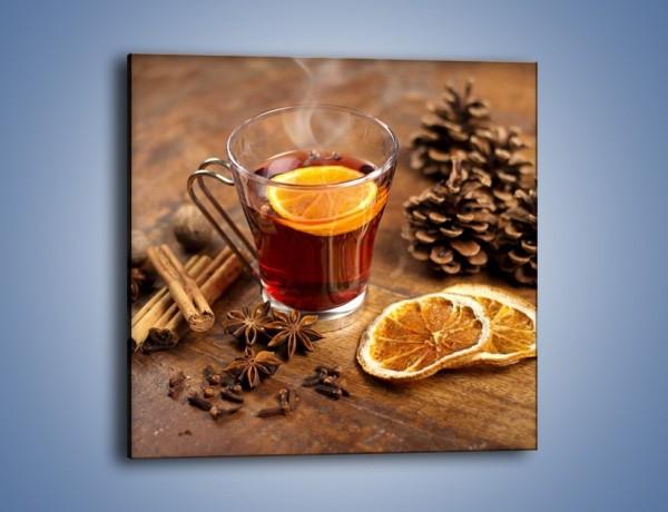 Obraz na płótnie – Zaparzona herbata z pomarańczą – jednoczęściowy kwadratowy JN663