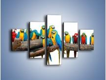 Obraz na płótnie – Kolorowe stado papug – pięcioczęściowy Z326W1