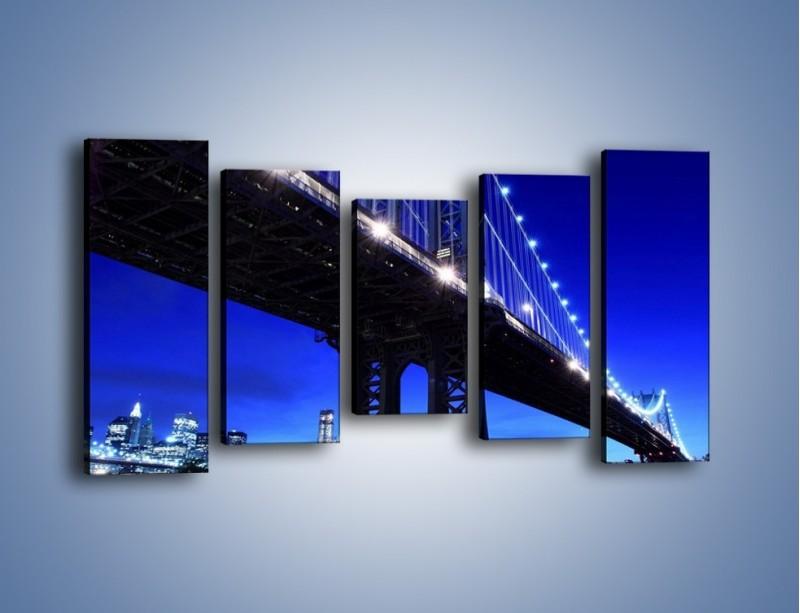 Obraz na płótnie – Oświetlony most wieczorem – pięcioczęściowy AM003W2