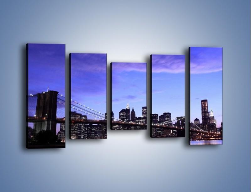 Obraz na płótnie – Most Brookliński przed zmierzchem – pięcioczęściowy AM016W2