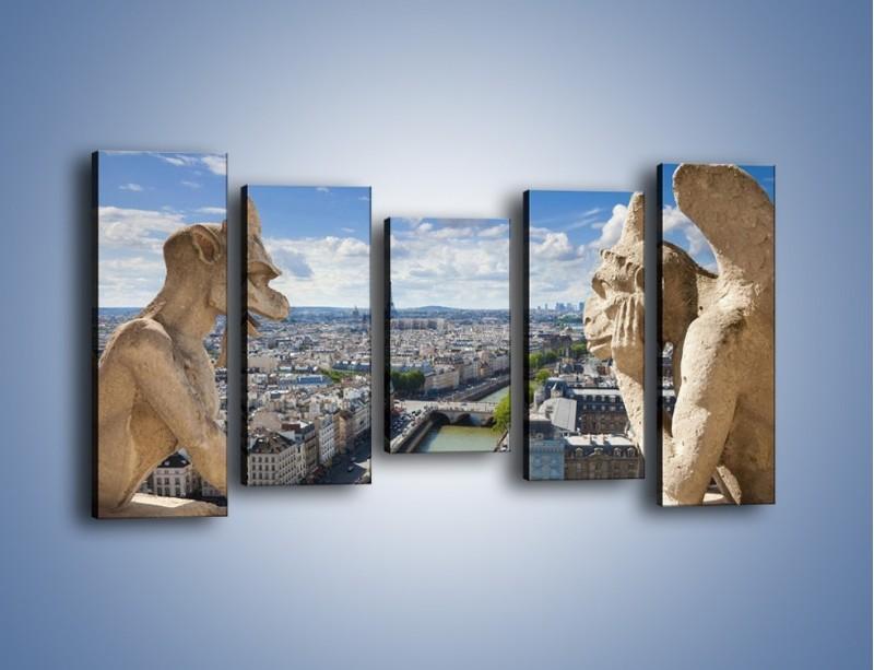 Obraz na płótnie – Kamienne gargulce nad Paryżem – pięcioczęściowy AM037W2
