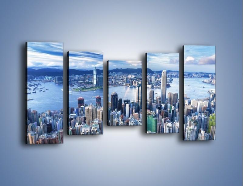 Obraz na płótnie – Miasto portowe o poranku – pięcioczęściowy AM050W2