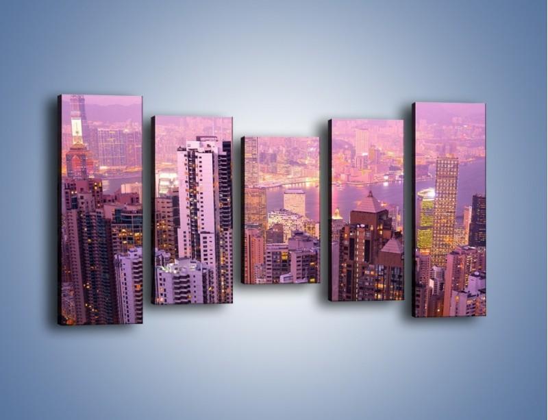 Obraz na płótnie – Duże miasto budzące się o poranku do życia – pięcioczęściowy AM062W2