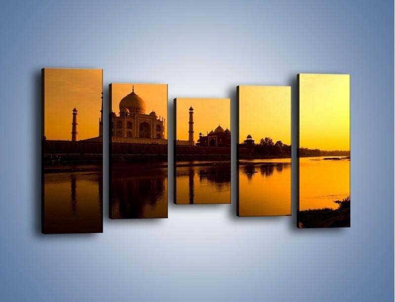 Obraz na płótnie – Taj Mahal o zachodzie słońca – pięcioczęściowy AM075W2