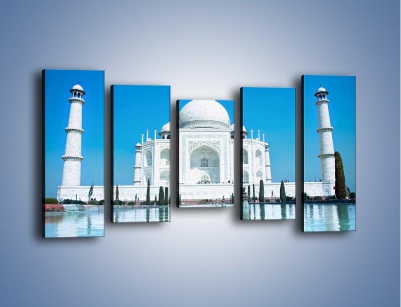 Obraz na płótnie – Taj Mahal pod błękitnym niebem – pięcioczęściowy AM077W2