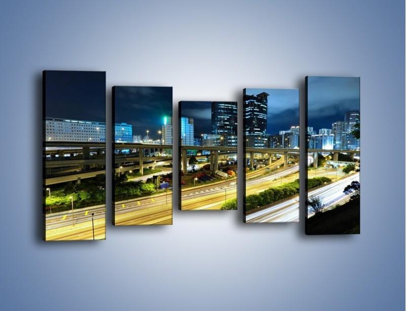 Obraz na płótnie – Przedmieście miasta wieczorem – pięcioczęściowy AM091W2